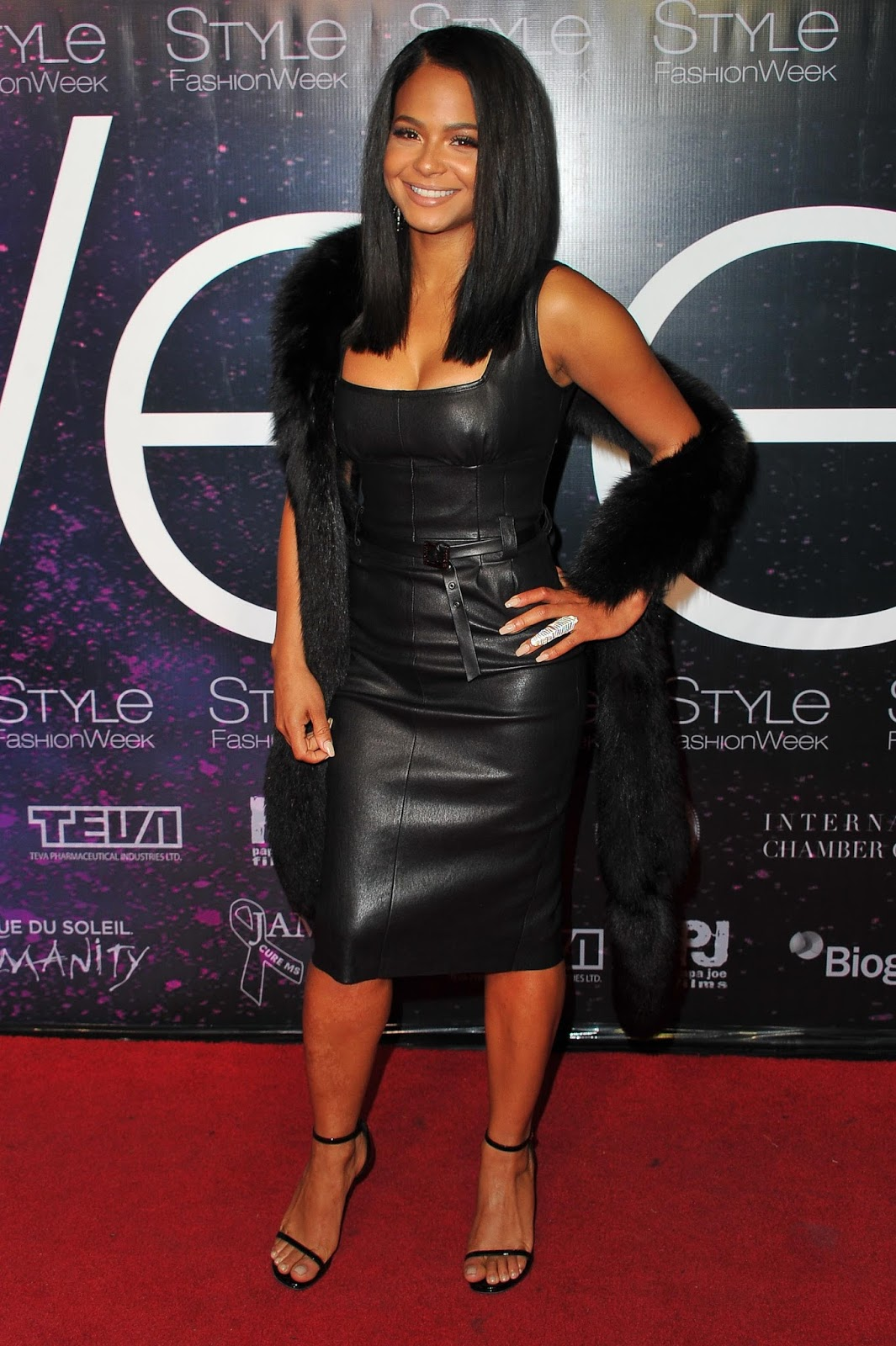 Lovely Ladies in Leather: Christina Milian in a leather dress