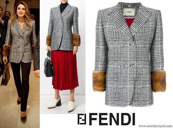 Queen Rania wore Fendi Glen plaid jacket