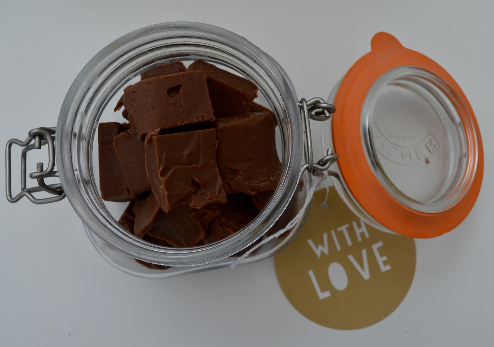 Terry's Chocolate Orange Slow Cooker Fudge Recipe - A Homemade & Edible Christmas Gift  - finished result presented in Mason Jars