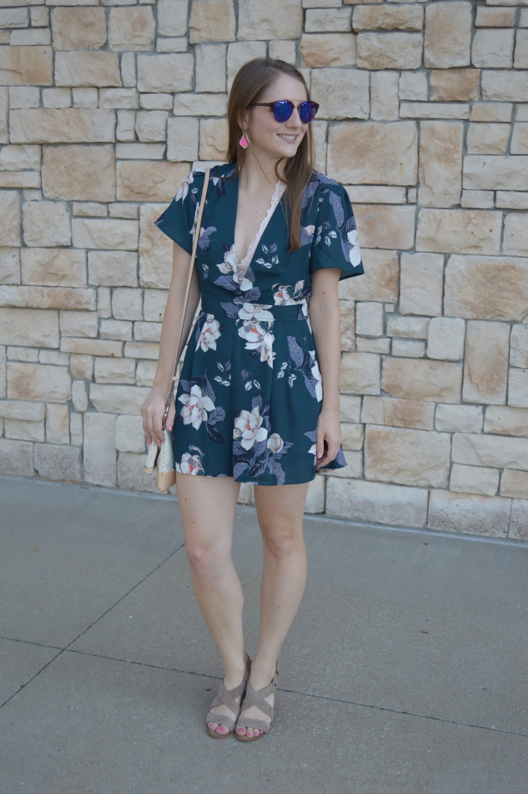 date night outfits for summer | romper with a bralette | teal and blush outfit ideas | retro sunglasses | mirrored sunglasses | summer outfit ideas | summer lookbook | summer street style | a memory of us |