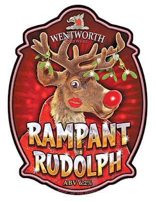 Image shows artwork by Hot Frog Graphics for Rampant Rudolph beer clip