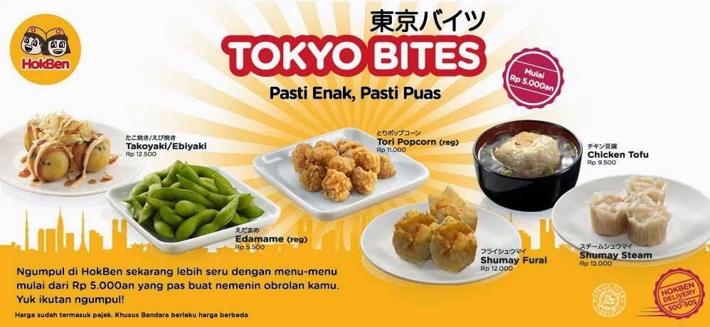 Daftar Menu dan Harga Paket Tokyo Bites Hoka-Hoka Bento (HokBen)