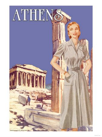 Athens, Greece Acropolis. Vintage travel poster