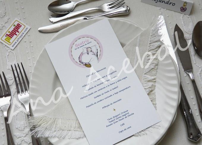 Decoracion Bautizo Nacimiento hoja menu personalizada original