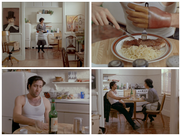 scene from Moonstruck that inspired Pan-Seared New York Strip with Whisky Herb Compound Butter for Food 'n Flix