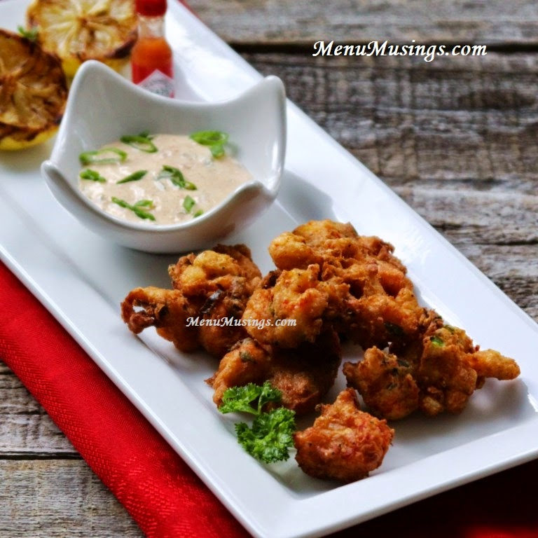 Crawfish fritters with spicy remoulade sauce @ menumusings.com