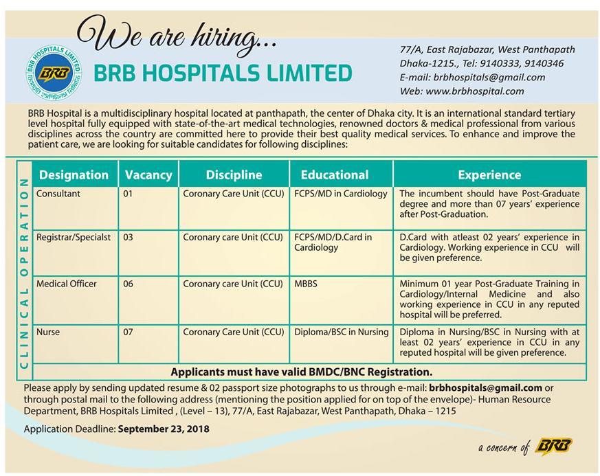 BRB Hospital Job Circular 2018