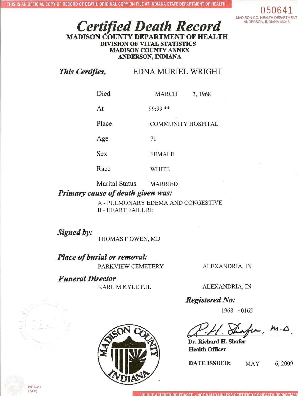 Moms dar process francis smalley documenting generation 3 edna muriel wright death certificate no 1968 0165 1968 madison county health department anderson indiana usa 1betcityfo Images