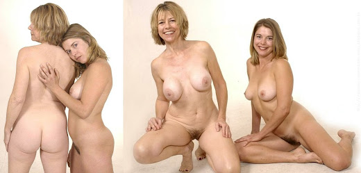 mãe coroa pelada com filha jovem