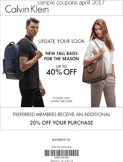 Calvin Klein coupons for april 2017