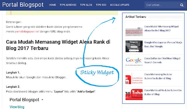 Cara Memasang Widget Melayang di Blogspot