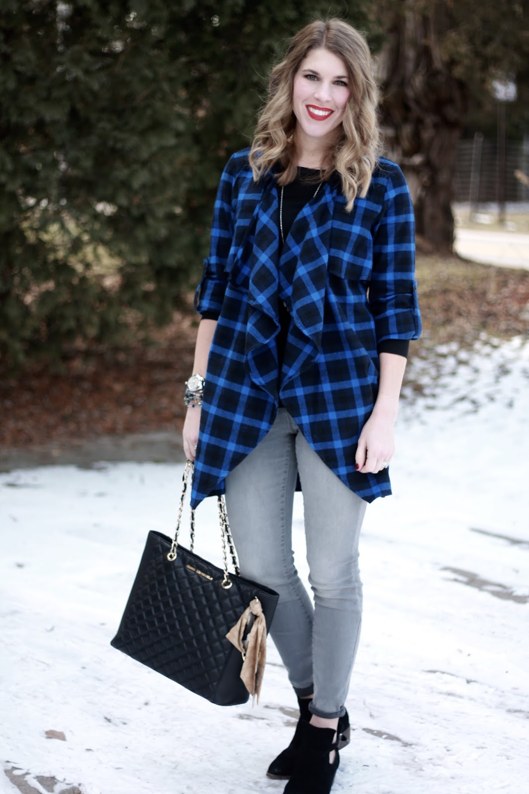 I do deClaire: Blue Plaid Waterfall Cardigan