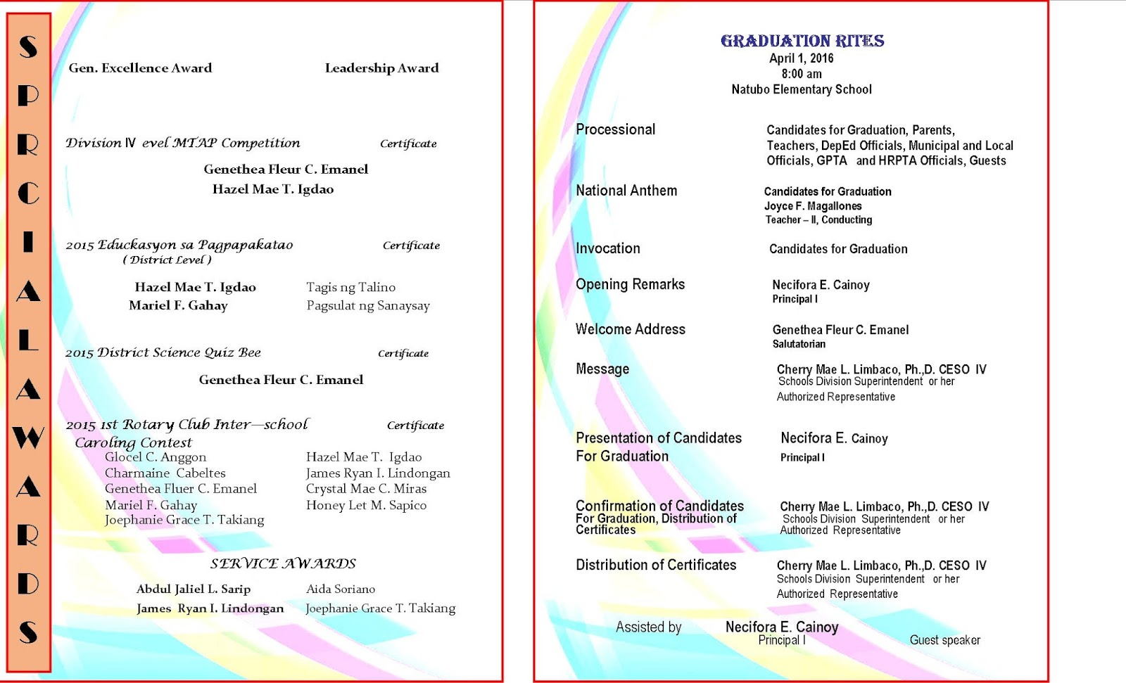 2015 2016 graduation program new template deped lp 39 s for Event program template publisher