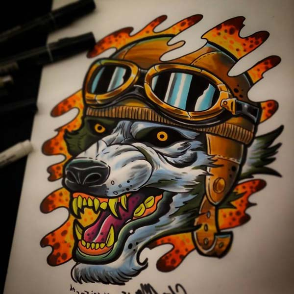 cartoon wild wolf tattoo