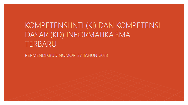 Kompetensi Inti (KI) dan Kompetensi Dasar (KD) Informatika SMA Terbaru