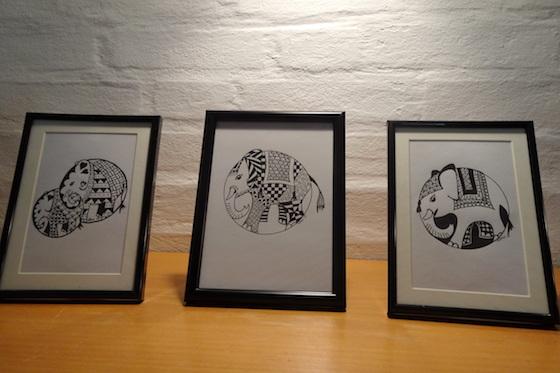 Tre tegninger af Lone Hedvig Hansen