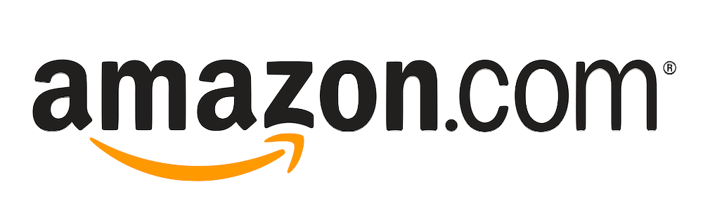 'amazon.com' logo: the website name in black sans-serif type, 'amazon' boldfaced, with a curved gold line running from under the 'a' to the 'z' where it concludes with an arrowhead