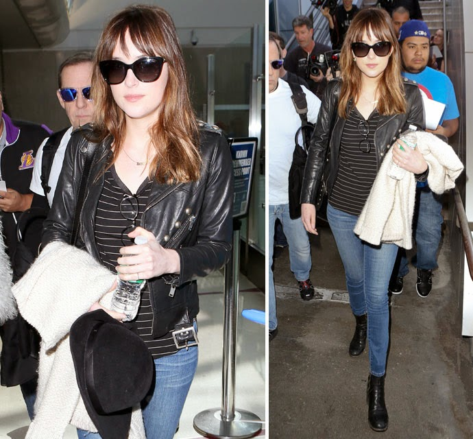 Fresh Off Blockbuster Weekend, fifty shades of grey Star Dakota Johnson Returns Home To Media mania