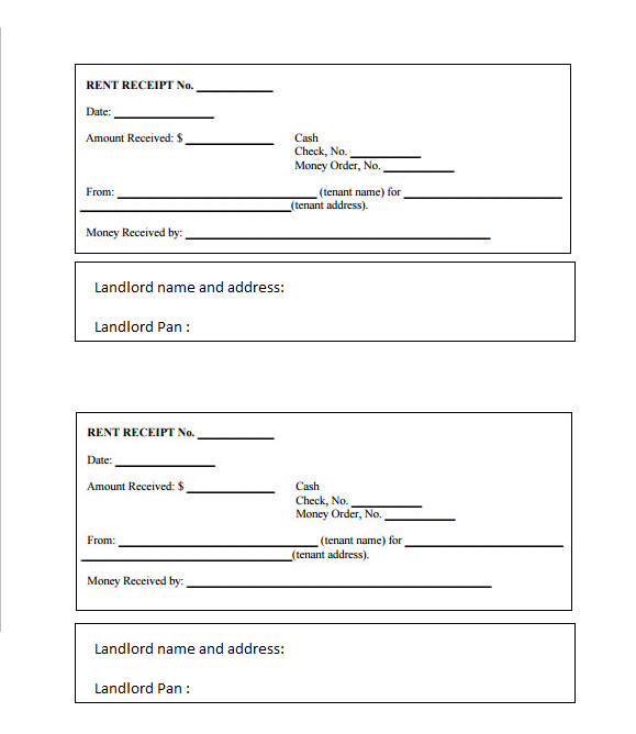 Rent receipt template with landlord address and pan, India | Tushar ...