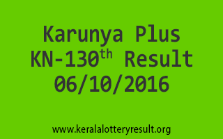 Karunya Plus KN 130 Lottery Results 6-10-2016