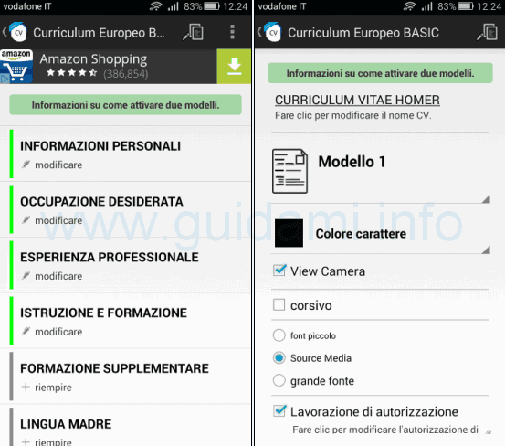 Curriculum Europeo BASIC app Android