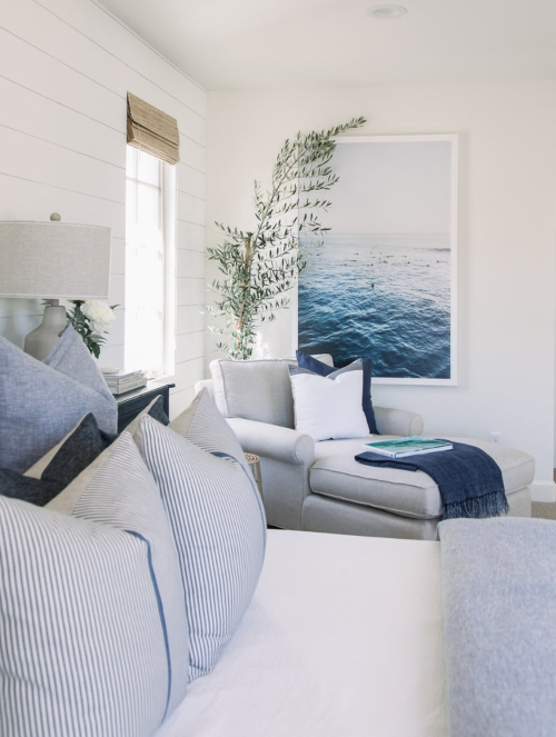 Large Coastal Ocean Art Bedroom Blue