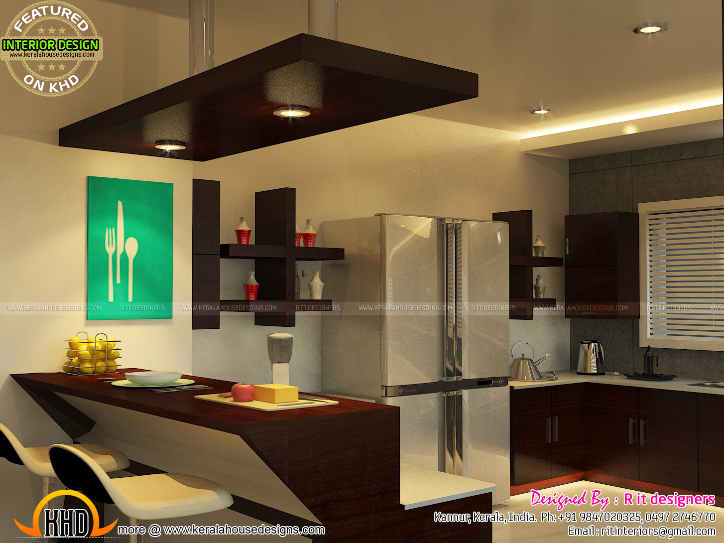Interior Designs Images Open Kitchen Living Skylight Area Interior Kerala Home