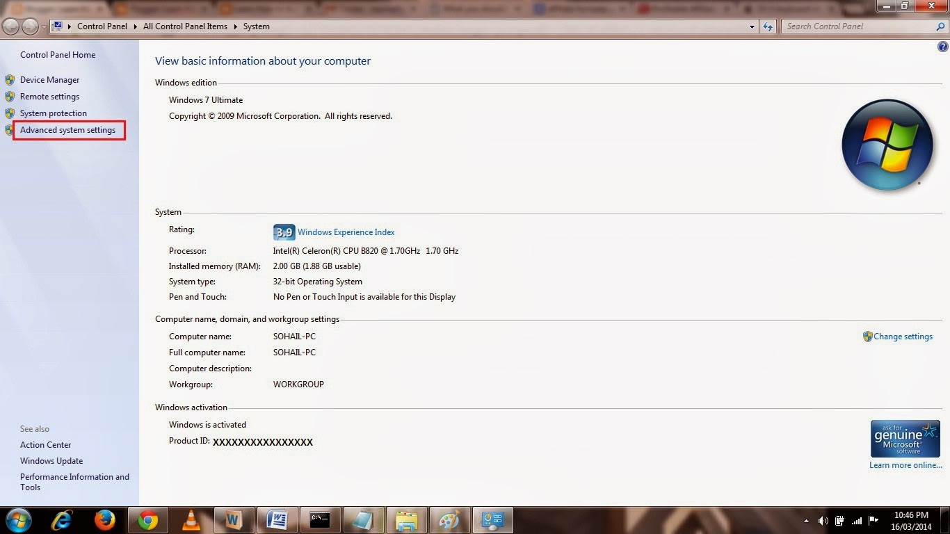 Pic 6(O) - Advanced System Settings on Windows 7
