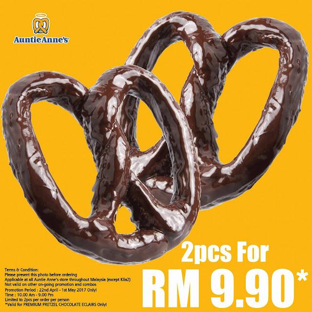 Auntie Anne's Malaysia Premium Pretzel Chocolate Eclairs Discount Promo