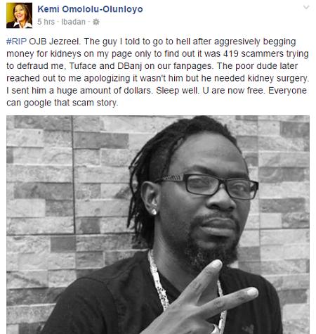 LIE LIE! I Donated Huge Dollars To OJB's Kidney Transplant – Kemi Olunloyo
