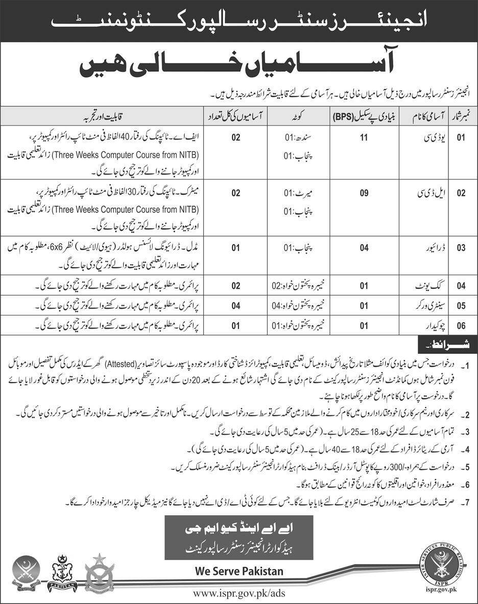 Jobs In Pakistan Army at Engineers Center Risalpur Cantt April 2018