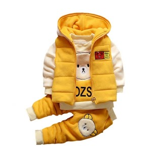 Baby Boys Autumn Warm WaistCoat + Sweatshirt + Pants 3Pcs Infant Suit