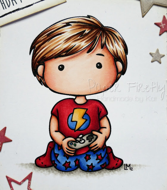 Birthday card for a boy featuring Whimsie Doodles image of boy with game controller