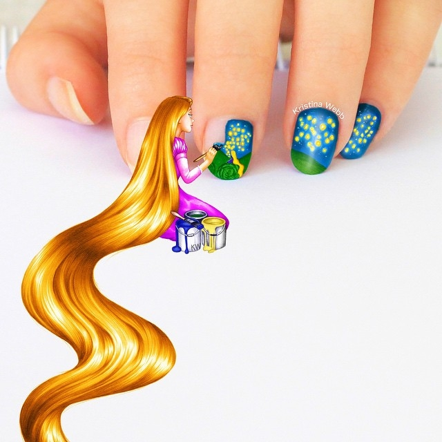04-Rapunzel-Painting-my-Nails-Kristina-Webb-colour-me-creative-Drawings-Exploring-a-Range-Different-Techniques-www-designstack-co