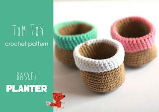 tom toy basket planter free crochet pattern