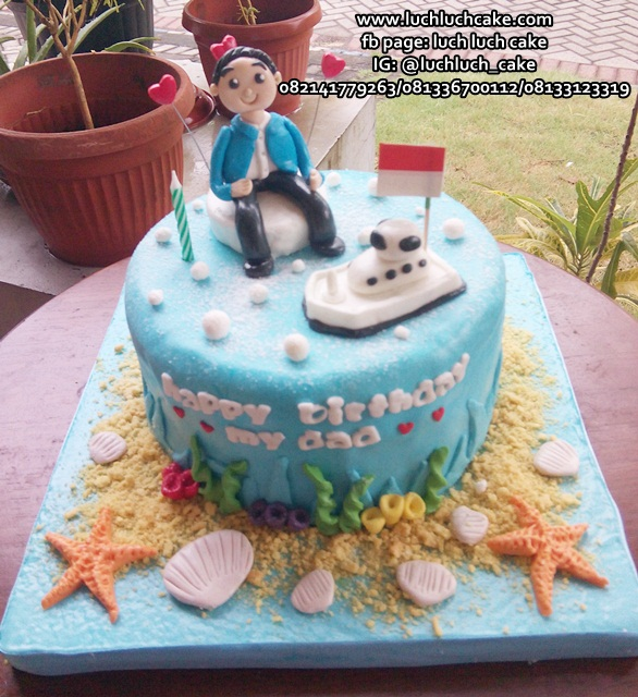 Kue Tart Tema Kapal Laut Untuk Ayah