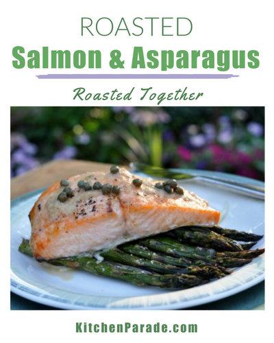 Roasted Salmon & Asparagus ♥ KitchenParade.com, ever so simple, just salmon and fresh asparagus roasted together, easy enough for a weeknight, elegant enough for company.