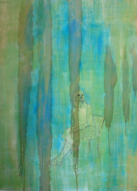 Oil painting mixed media art work with aqua blue and green by Louisiana artist George Marks