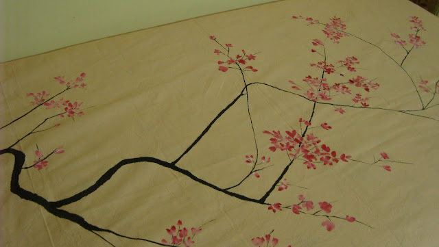 hand painted bed sheet, cherry blossom painting