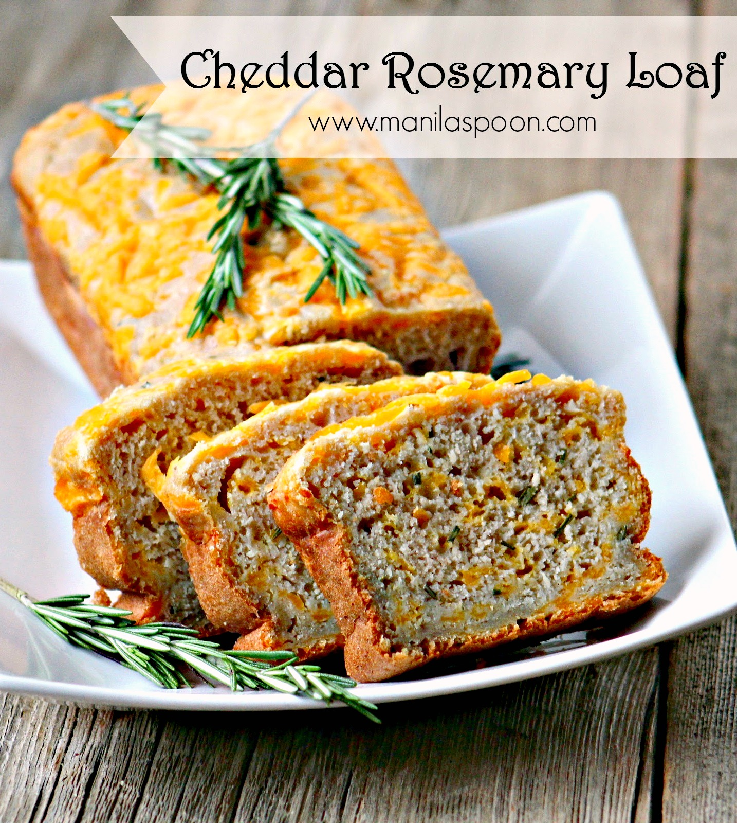 A super-moist and very tasty bread that's quick and easy to prepare. Perfectly pairs with your favorite soup or as a savory treat with your tea.  Cheddar Rosemary and Applesauce Loaf | manilaspoon.com