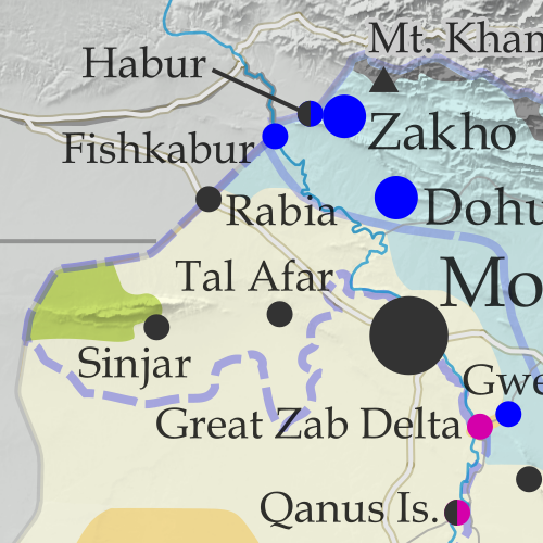 Iraq Control Map 2020, updated to August 21. Shows areas of Iraq under Turkey's military contro, ISIS control (Islamic State/ISIL/Daesh), and under the control of the Baghdad government, the Kurdistan Peshmerga, and the Yezidi Sinjar Alliance (YBS and YJE). Marks Khamtir and Halukah Mountains (Jabal Khamtir and Jabal Halukah), controlled by Turkish forces. Colorblind accessible.