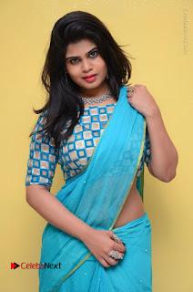 Telugu Actress Alekhya Stills in Green Saree at Swachh Hyderabad Cricket Press Meet  0043.JPG