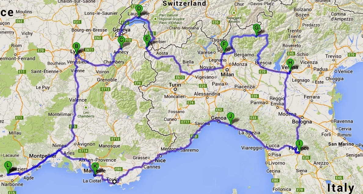 Road Map Of France And Italy.Bize Bytes Cousins And Italy France Road Trip