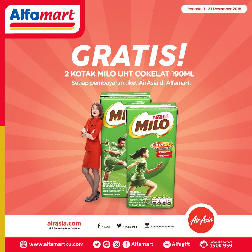 Alfamart - Promo Bayar Tiket AirAsia Gratis 2 Kotak Milo UHT Coklat (s.d 31 Des 2018)