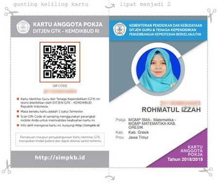 Cara cetak kartu anggota kelompok kerja  Cetak Kartu Pokja Sim-Pkb Semester 1 Dan 2 Tahun 2018/2019