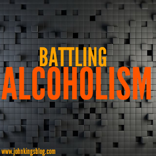 Colored text on a multiple grid block background with the text 'battling alcoholism'