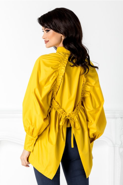 Camasa galbena cu design deosebit la spate moderna