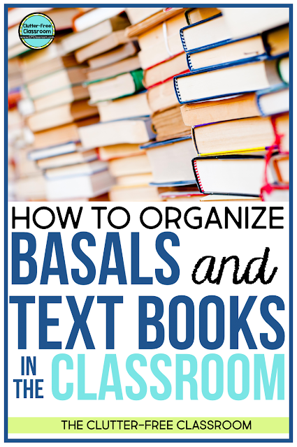 Do you have stacks of text books and basals in your classroom and are in need of storage solutions? I have lots of free organizing ideas and tips to help you organize these curriculum materials.