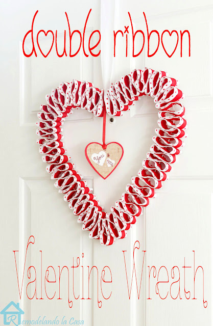 Valentine's day wreath with red and white ribbon