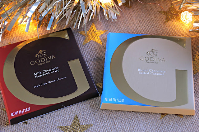 Godiva  Blond Chocolate Salted Caramel and Milk Chocolate Hazelnut Crisp Tablet G Image